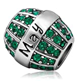 JMQJewelry Birthday Charms Bead For Bracelets (Emerald, May Birthstone) (Color: Green)