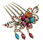 Voberry® Retro Vintage Fashion Antique Bronze Women's Colorfull Rhinestone Elegant Peacock Tuck Comb Hair Clip-colorful with Accessory1 Pcs Random Color
