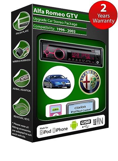 Alfa Romeo GTV de lecteur CD et stéréo de voiture radio Clarion jeu USB pour iPod/iPhone/Android