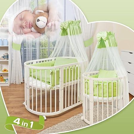 Comfort Baby©-Ovale per lettino-5in 1-Letto in legno massiccio di faggio bianco-utilizzabile come lettino, Box, Mini inkl. Baldacchino, bezuege, coperte, materasso, paracolpi ecc. Offerta completa