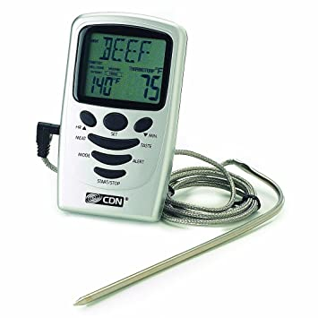 CDN Programmable Probe Thermometer and Timer, Silver: Amazon.ca: Home & Kitchen