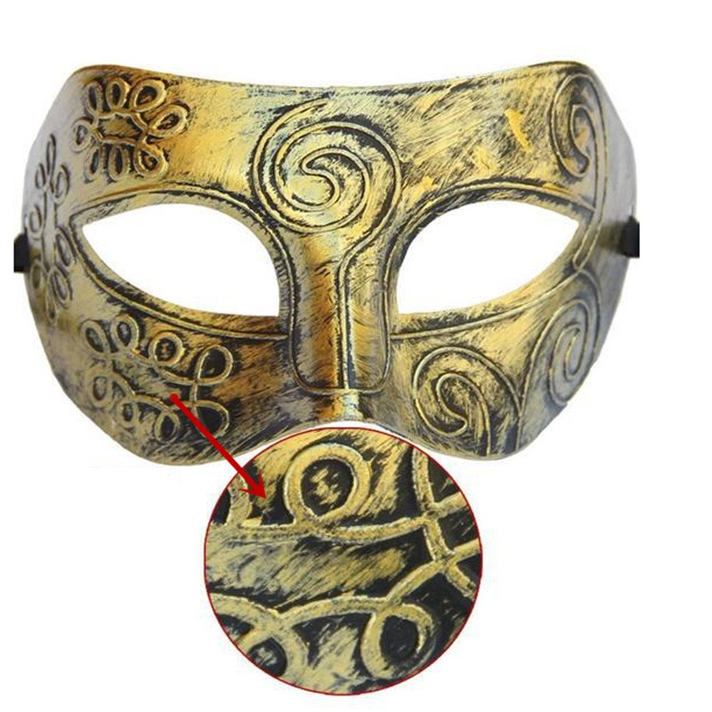 Thiroom Men's Retro Greco-Roman Gladiator Masquerade Masks Vintage Golden Mask Carnival Mask Mens Halloween Costume Party Mask(golden) 5