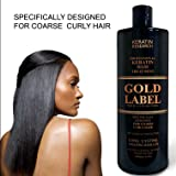Gold Label Professional Brazilian Keratin Blowout Hair Treatment Super Enhanced Formula Specifically Designed for Coarse, Curly, Black, African, Dominican, and Brazilian Hair Types (1000ml) (Tamaño: 1000ml)