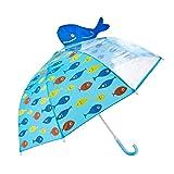 Rainbrace Kids Umbrella, Umbrella Kids Fashion Childrens Dome Rain Umbrella 37-Inch for Boys and Girls with Clear Window Panel, 3D Whale, Blue (Color: Blue-Whale)