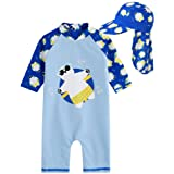 Vaenait baby Little Boys Swimsuit Rashguard Swimwear With Flapcap Tanning Bear Blue Baby L