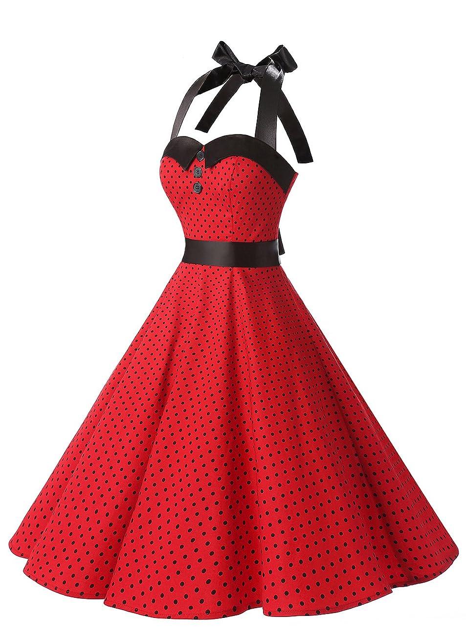 Dressystar Vintage Polka Dot Retro Cocktail Prom Dresses 50's 60's Rockabilly Bandage 1