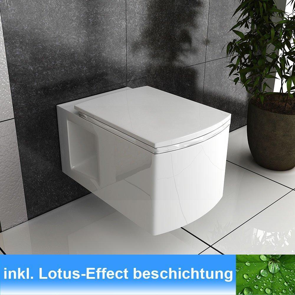 Wand Hänge WC / Farbe Weiss / Toilette mit WCSitz / WCSitz mit SoftClose Funktion / Keramik WC / Lotus Effect  BaumarktKundenberichte und weitere Informationen