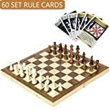 iBaseToy Wooden Chess Set with 60 Game Rules Cards and Folding Chess Board - Perfect Travel Chess Set for Kids and Adults, 15