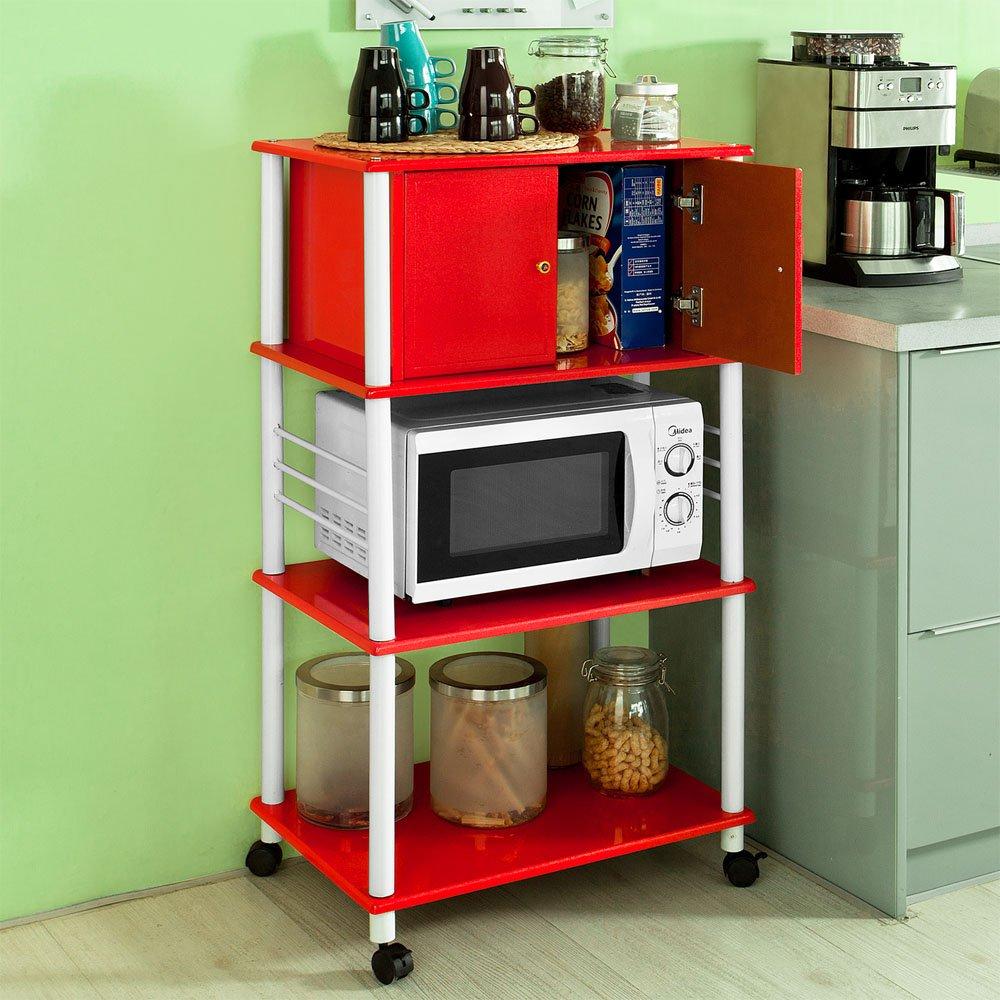 sobuy mikrowelleregal k chenschrank rollschrank. Black Bedroom Furniture Sets. Home Design Ideas