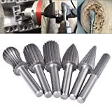 HOHXEN 6pcs Double Cut Rotary Burr Set with 6 mm(1/4 Inch) Shank Die Grinder Bits for DIY Woodworking, Metal Carving, Engraving, Drilling, Polishing
