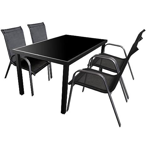 5tlg. Gartengarnitur Sitzgruppe 150x90cm Terrassenmöbel Aluminium Glastisch Stapelstuhl Textilen Sitzgarnitur Anthrazit Schwarz