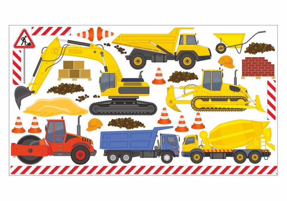 048 Wandtattoo Baumaschinen Bagger LKW Baustelle in 6 ver. Größen (1250 x 700 mm) günstig kaufen