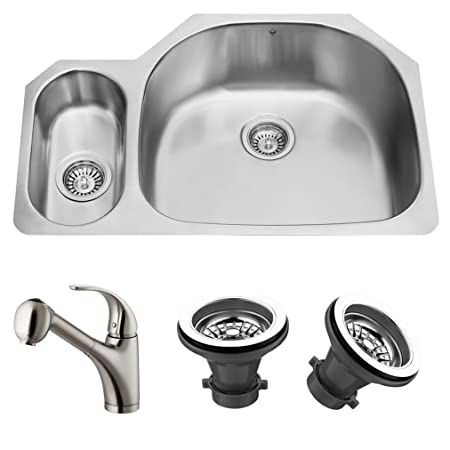 VIGO VG14024 Undermount Double Bowl Kitchen Sink, Steel