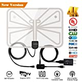 TV Antenna,2018 Upgrade Digital TV Antenna Best 50+ Miles Range with Amplifier Signal Booster for Indoor,UL USB Power Supply and 16.5FT High-Performance Coax Cable-1080P 4K Ready for FUN-Transparent (Color: Indoor TV Antenna, Tamaño: 50-100 Miles)