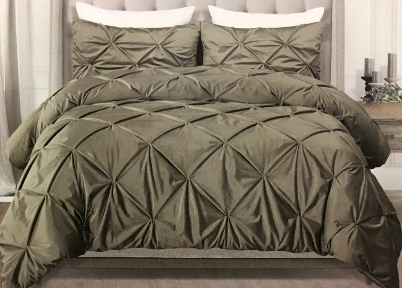 Gray velvet comforter set : Tahari luxury velvet piece king comforter set silver