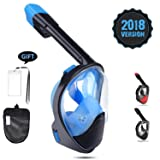 MITO INC 180° Full Face Snorkel Mask With Action Camera Mount, Easy Breathe Anti-fog Anti-leak Technology, Large Viewing Area for Man and Women (Color: Blue, Tamaño: S/M)