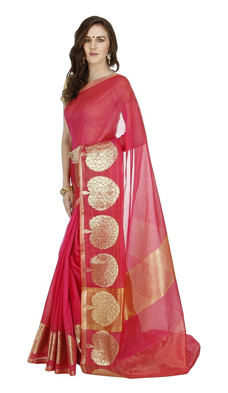 Banarasi Silk Works Women's Cotton (Pink)