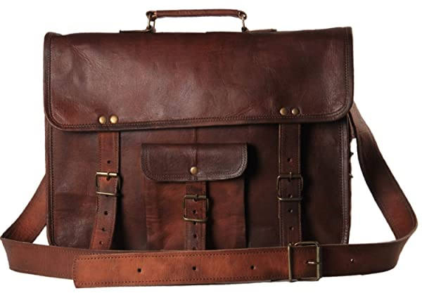 Handmadecraft Leather Unisex 100% Genuine Real Leather Messenger Bag for Laptop Briefcase Satchel 2016