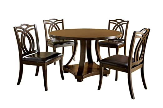 Furniture of America Fluxeur 5-Piece Round Dining Table Set, Dark Walnut