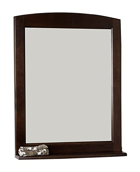 American Imaginations 71 24-Inch by 32-Inch Rectangle Wood Framed Mirror with Shelf, Walnut Finish
