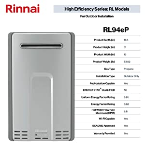 Rinnai RL Series HE+ Tankless Hot Water Heater: Outdoor Installation (Color: RL94eP - Propane/9.4 GPM, Tamaño: Large)