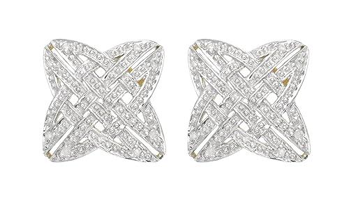 Adara 9 ct Yellow Gold Diamond Celtic Cross Stud Earrings