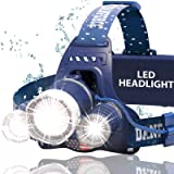 DanForce Brightest waterproof Headlamp Head Lamp with 1080 Lumens,3 Originals Cree LED,2 Powerful Rechargeable Batteries, Maximum Comfort Headlamps Flashlight For Outdoor & Indoor, With Red Light (Color: Neptune)