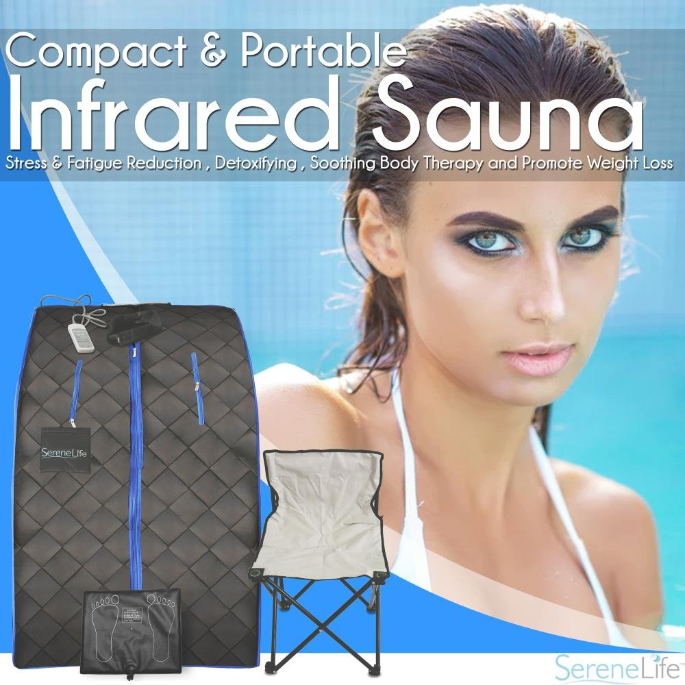 SereneLife Portable Infrared Home Spa | One Person Sauna for Detox & Weight Loss