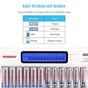 Tenergy TN160 LCD Battery Charger 12-Bay Smart Battery Charger for AA/AAA NiMH/NiCd Rechargeable Batteries Charger with Refresh Function Household Battery Charger w/AC Wall Adapter (Tamaño: Charger)