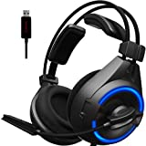 SENICC A6 USB Headset/Gaming Headset with Microphone Noise Cancelling,Surround Sound PS4 Headset Over-Ear PC Headphones with Flying Wing/LED Light (Color: Black)