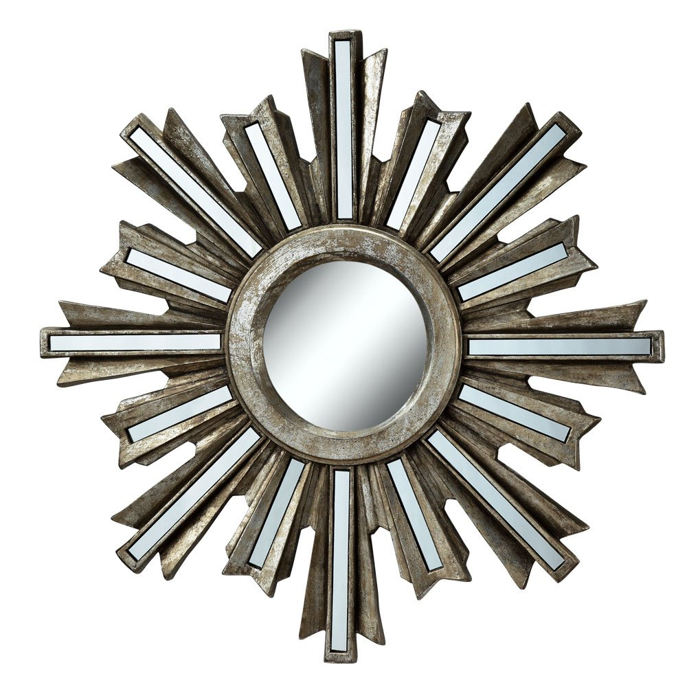 Silver Deco Sunburst Wall Mirror