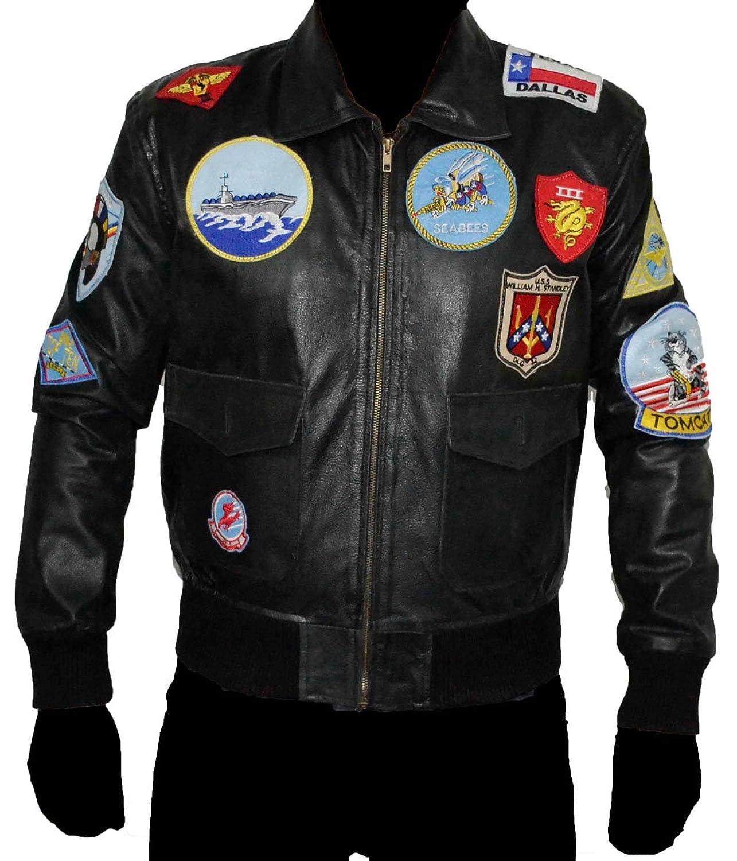 Top Gun BLACK REAL Cowhide Leather Jacket SAT 1 günstig bestellen