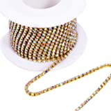 BLINGINBOX Rhinestones Chain 10 Yards SS6-2mm Crystal AB Glass Sew On Rhinestones Cup Chain With Gold Bottom Sew On Trim(ss6-2mm, Crystal AB-Gold Bottom) (Color: Crystal AB -Gold Bottom, Tamaño: ss6)
