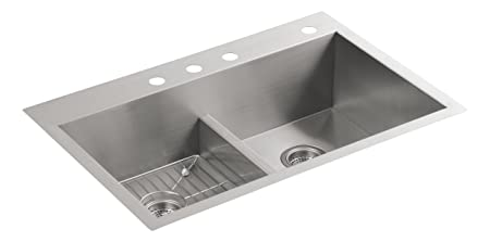 Kohler K-3838-4-NA Vault Smart Divide Double-Equal Sink, Stainless Steel