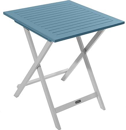 Table de jardin - Table de Jardin Pliante en Bois 65 x 65 cm - Muscade / Bleu