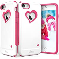 Vena Heart-Shape Dual Layer Hybrid Bumper Cover for Apple iPhone 7 (White Pink)