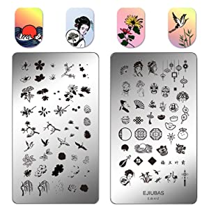 Ejiubas Nail Stamping Kit Stamping Plates Double Sided Nail Plates Chinese Tradition Style DIY Image Plates Set EJB-X11&X12