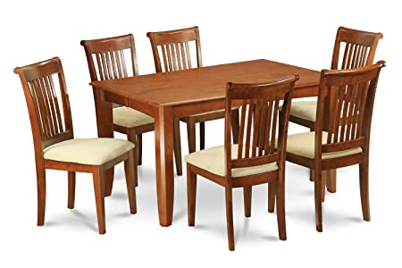 East West Furniture PFPO7-SBR-C 7-Piece Dining Table Set