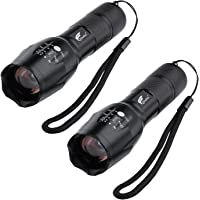 2-Packs Hausbell T6 LED Flashlight Torch Adjustable Focus Zoom Light Lamp