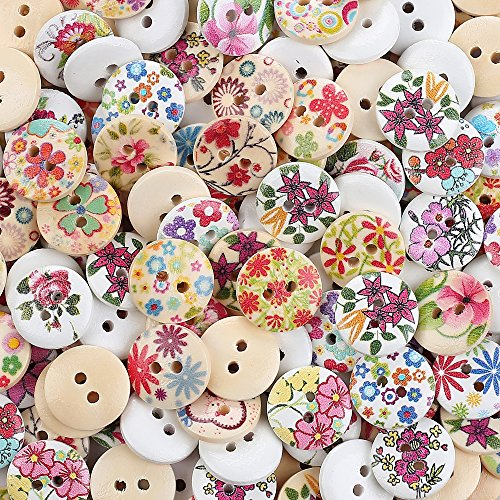 Best Price! Crystallove Bulk 2 Holes 15mm Flower Buttons Mixed for Sewing Scrapbooking and DIY Craft...