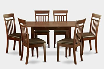 East West Furniture NOCA7-MAH-LC 7-Piece Dinette Table Set