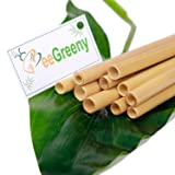 Set of 10 Bamboo Straws by BeeGreeny – 8 Inches Natural Reusable Drinking Straw - With Cleaning Brush & Storage Pouch – Eco-friendly  Replacement for Plastic Ones
