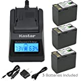 Kastar Fast Charger and Battery (3-Pack) for JVC BN-VF823 BN-VF823U and GZ-MG555 GZ-MG575 GZ-MG630 GZ-MG650 GZ-MG670 GZ-MG680 GZ-MG730 GZ-MS100 GZ-MS101GZ-MS120 GZ-MS130 GZ-D230 GZ-HD260 GZ-HD3 GZ-HD5 (Color: 14 (COMBO: 3 BATTERIES + 1 ULTRA FAST CHARGER KIT))