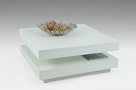 Funktionscouchtisch Ben, Dekor Weiß, 78 x 78 x 34 cm, 360° drehbar  Apollo