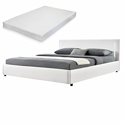 [my.bed] LED Elegantes Polsterbett mit Kaltschaum-Matratze (H2) - 180x200cm - Kunst-leder (weiß) - Bett / Doppelbett / Bettgestell inkl. Lattenrost