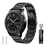 Band for Gear S3 Frontier / Classic, GHIJKL Stainless Steel Metal Replacement Bracelet Starp for Samsung Gear S3 Frontier / S3 Classic Sports Smart Watch Fitness, Metal Black (Color: Metal Black)