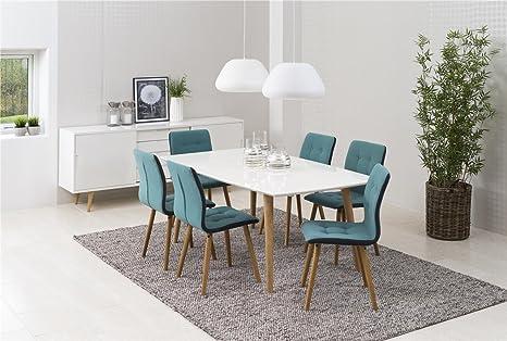 Essgruppe mit 6 Stuhlen Tischgruppe mit Stuhlen 7tlg. Komplett Tisch Weiß aus Massivholz Lackier 180 x 100 x 74 Stuhle Petrol Polster mit Gestell aus Eiche Skandinavisches Design Esszimmergruppe Tischset Modern