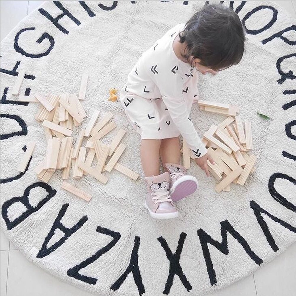 Habudda Warm Soft Cotton Luxury Plush Baby Crawling Rugs Educational ABC Alphabet Area Rugs Kids Teepee Tent Game Play House Round 1.2 meters 47.24 inch Diameter (Beige)