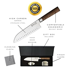 Kutt Chef Knife | Razor Sharp and Rust-Free Professional Kitchen Knife | 7 Inch Chef's Knife German Stainless Steel Blade | Odor Remover and Finger Guard included in Luxury Gift Box (Color: Santoku Knife - Brown)