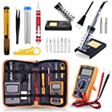 Soldering Iron Kit Electronics, Rarlight 60W Adjustable Temperature Welding Tool, Digital Multimeter, Soldering Iron Tips,Desoldering Pump,Screwdriver,Solder Wire,Tweezers,Stand,Wire Stripper Cutter  (Color: N, Tamaño: 11-in-1 Set)